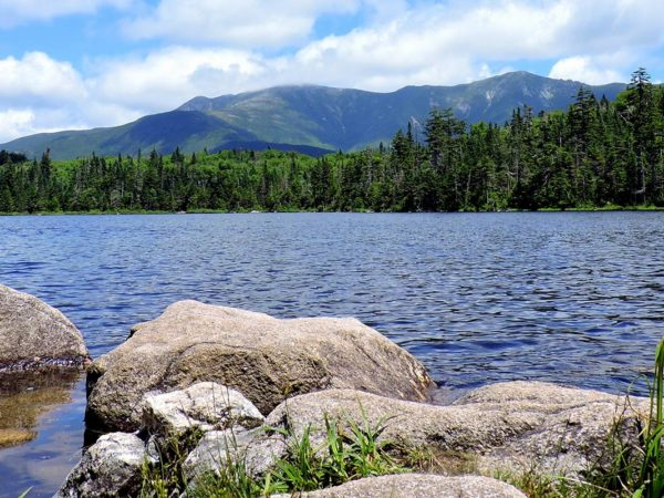 legendary attractions, historic, old man on the mountain, skiing, new hampshire lake, pond, rocks, trees, nature