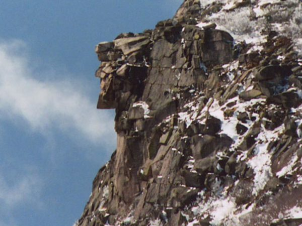 old man on the mountain, rock sculptures, snow, winter, new hampshire, historic